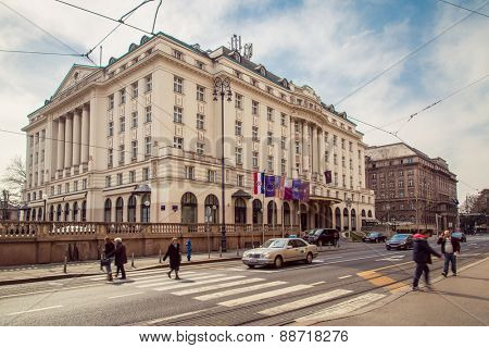 ZAGREB, CROATIA - 17 MARCH 2015: A side view of the main entrance to the Esplanade Hotel in Zagreb.