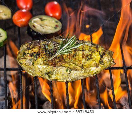 Chicken steak on grill