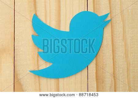 KIEV UKRAINE - FEBRUARY 19 2015:Twitter logotype bird