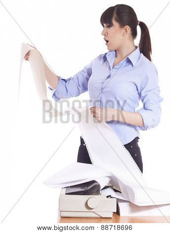Business woman with lot of paper work, reading document