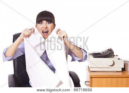 Business woman with lot of paper work ,frustrated
