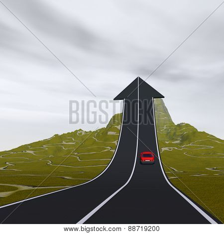 Concept or conceptual 3D red car on arrow road pointing up,upward over a mountain to sky background