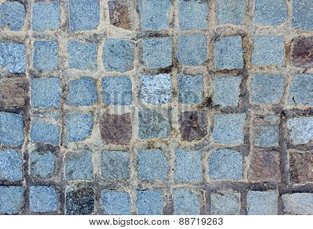 Blue Stone Cobbled Wall