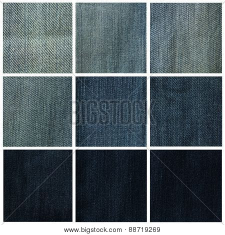 Collage showing a variety of blue denim
