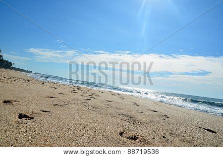 Sand Beach And Blue Sky By The Sea
