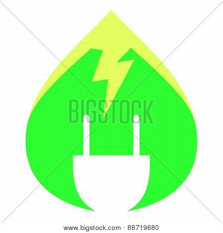 Green Renewable Energy Logo. Electricity plug