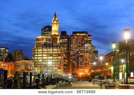 Boston Custom House at night, USA