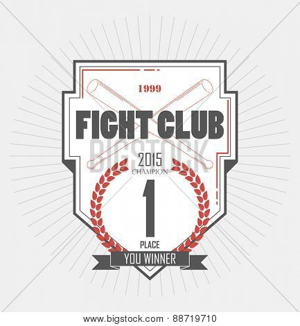 winner first place. champion vintage label. Fighting club emblems, labels, badges, logos. Monochrome graphic style