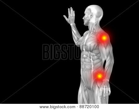 Conceptual 3D human man anatomy upper body or health design, joint or articular pain, ache or injury isolated on black background