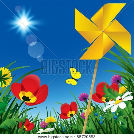 Meadow flowers and windmill propeller under the summer blue sky. Season natural background. Vector illustration