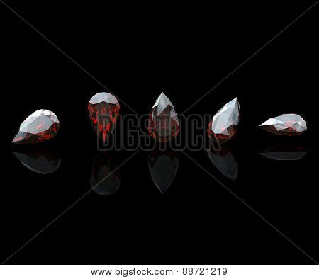 Gemstone. Collections of jewelry gems on black. Garnet