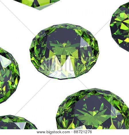 Gemstone. Collections of jewelry gems on black. Emerald