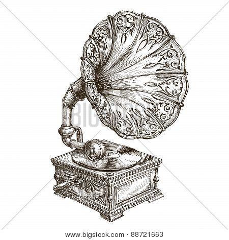 gramophone vector logo design template. music or vinyl record, nostalgia icon.