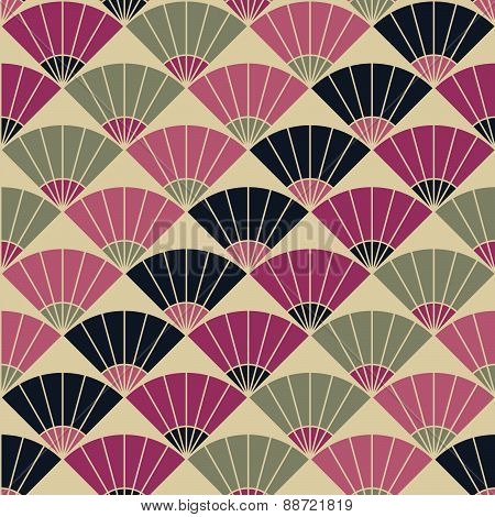 Abstract fan pattern. Based on Traditional Japanese Embroidery. Colorful Seamless.