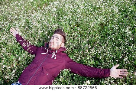 Relaxed young man lying on a field of flowers