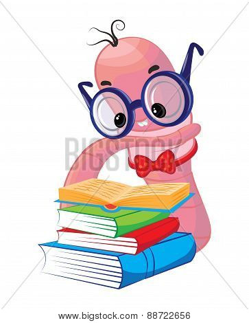 Funny bookworm reading, stack of books
