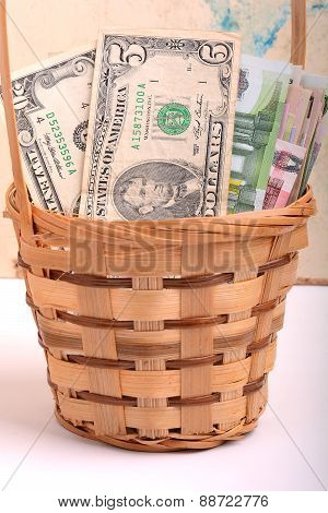 Money Set In A Basket, Dollars, Euro
