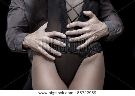 Strong Man Hand Holding Woman Hip