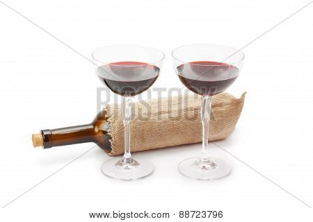 Bottle Of Wine And Glasses With Red Wine
