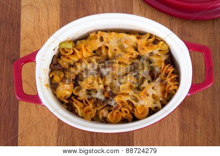 beef and cheese rotinis  spiral pasta dish on table