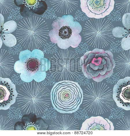 Seamless watercolor abstract pattern with flowers in vintage style.