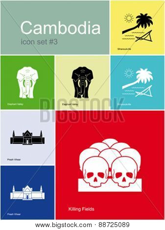 Landmarks of Cambodia. Set of color icons in Metro style. Editable vector illustration.