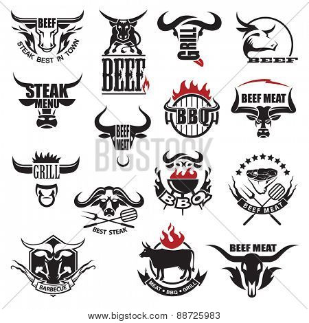 set of fifteen beef meat icons