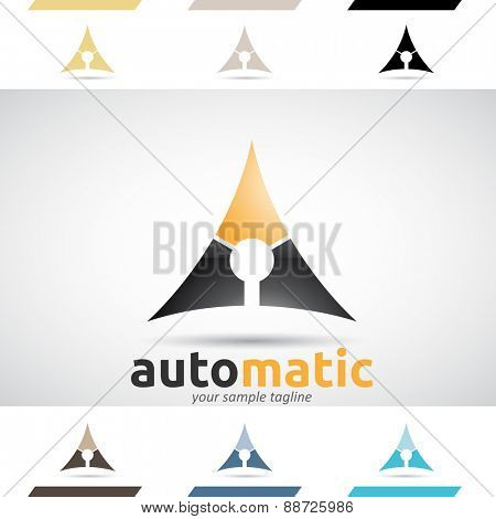 Design Concept of black and orange Stock Icons and Shapes of Letter A, Vector Illustration