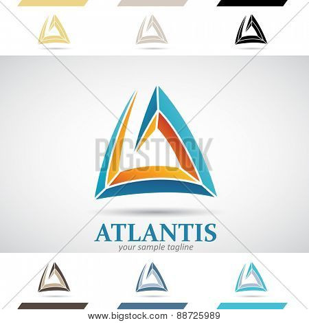 Design Concept of Blue and Orange Stock Icons and Shapes of Letter A, Vector Illustration