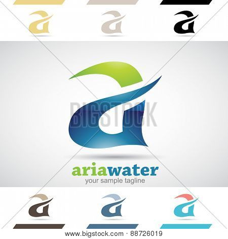 Design Concept of Blue and Green Stock Icons and Shapes of Letter A, Vector Illustration