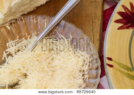 Italian Pasta Dinner Served With Wine And Bread