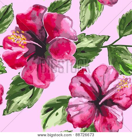 Beautiful seamless floral pattern background with watercolor pink tropical flowers and  leaves, hibiscus. Vector illustration.