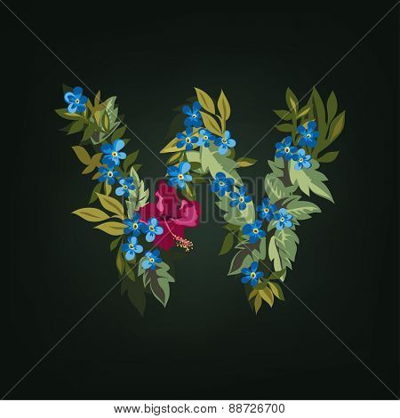 W letter. Flower  alphabet. Colorful font. Lowercase.  Vector illustration.