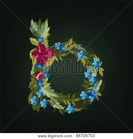 B letter. Flower  alphabet. Colorful font. Lowercase.  Vector illustration.