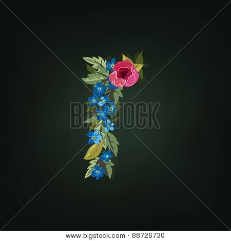 R letter. Flower  alphabet. Colorful font. Lowercase.  Vector illustration.