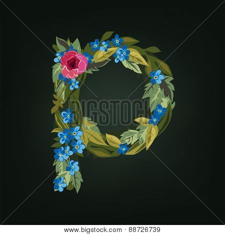 P letter. Flower  alphabet. Colorful font. Lowercase.  Vector illustration.