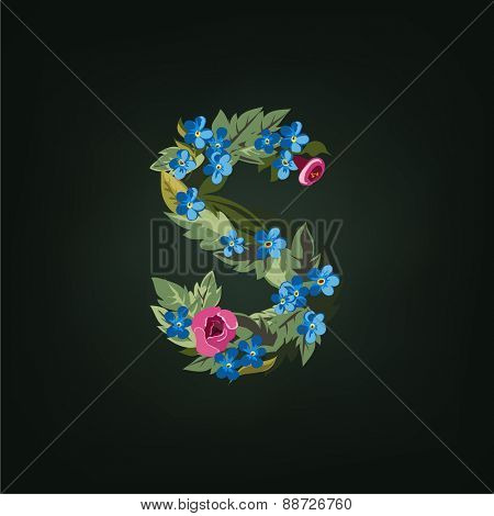 S letter. Flower  alphabet. Colorful font. Lowercase.  Vector illustration.