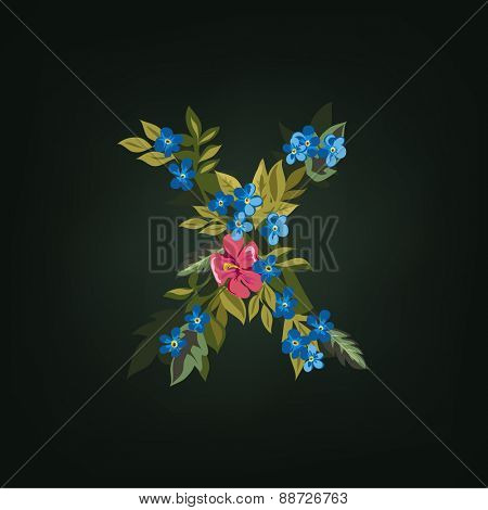 X letter. Flower  alphabet. Colorful font. Lowercase.  Vector illustration.