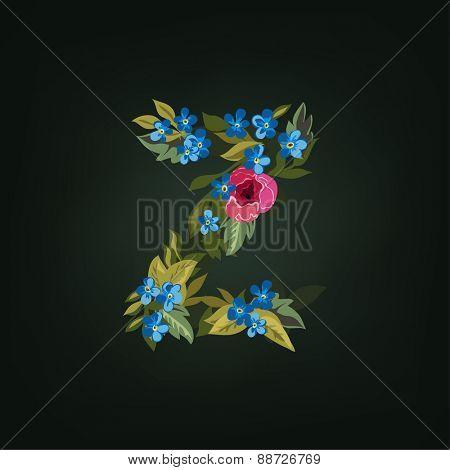 Z letter. Flower  alphabet. Colorful font. Lowercase.  Vector illustration.