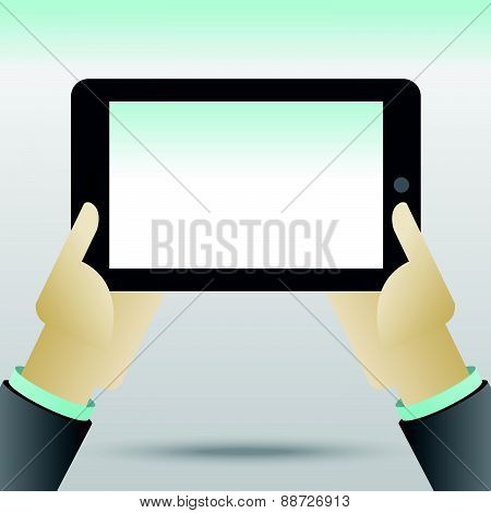 Hands holing tablet computer