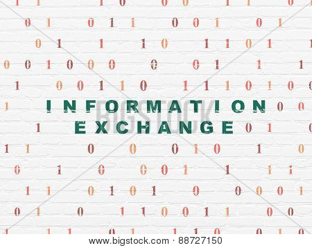 Information concept: Information Exchange on wall background