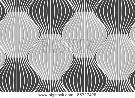 3D Shades Of Gray Vertical Striped Waves