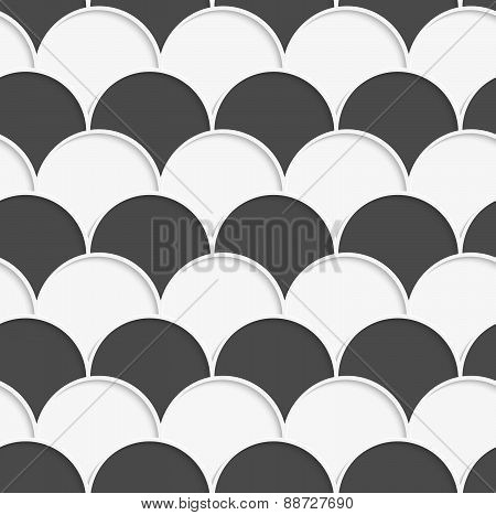 3D White And Gray Overlapping Half Circles In Rows