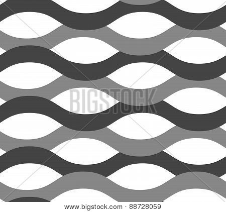 Gray Ornament With Overlapping Waves