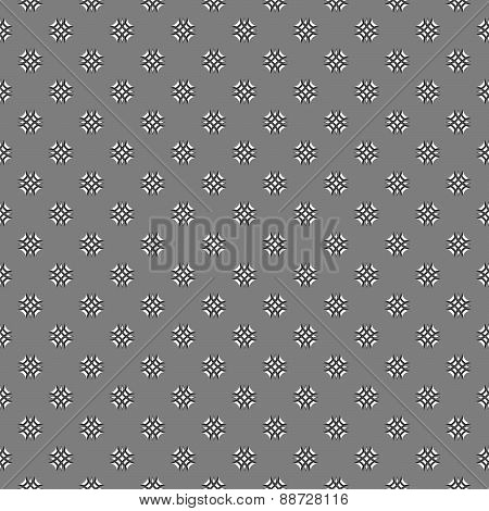 Gray Ornament With White And Black Mosaic Crosses