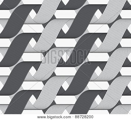 Ribbons Dark And Light Forming Horizontal Overlapping Loops Pattern