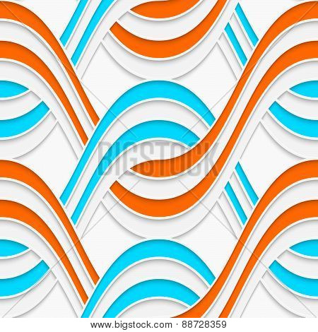 White Embossed Interlocking Waves With Blue And Orange