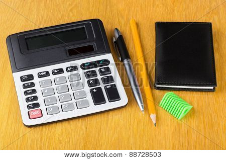 Electronic Calculator, Notepad, Pen, Sharpener  And Pencil