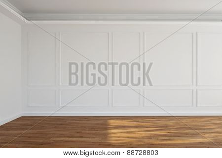White empty old room with stucco on walls (3D Rendering)