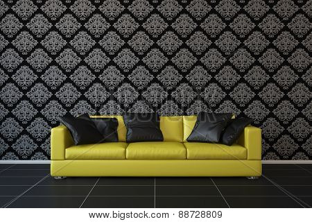 Yellow sofa in living room with floral pattern wallpaper (3D Rendering)
